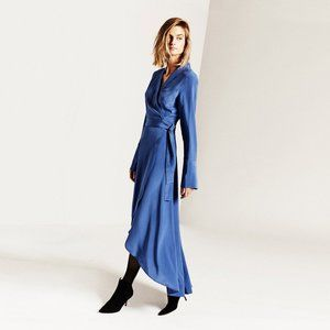 NEW Equipment Gowin Silk Dress in Letterman Blue